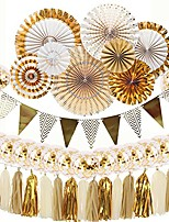 cheap -gold and white party decorations 8 pcs paper fan flowers 20 pcs confetti balloons pennant banner 15 pcs tissue paper tassels garland birthday party supplies for wedding baby shower decorations
