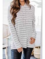 cheap -Women's Daily Pullover Hoodie Sweatshirt Striped Basic Hoodies Sweatshirts  Gray
