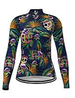 cheap -Women's Long Sleeve Cycling Jersey Dark Navy Skull Floral Botanical Bike Jersey Top Mountain Bike MTB Road Bike Cycling Quick Dry Sports Clothing Apparel / Micro-elastic