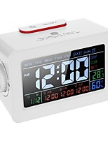 cheap -LCD Digital Thermometer Hygrometer Clock / Temperature Humidity Meter 3 Alarm Clocks Snooze Backlight Color Screen Display with Switchable Backlight-eu plug