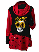 cheap -Women's Tunic Skull Star Long Sleeve Print Round Neck Tops Loose Basic Basic Top Blue Red Green
