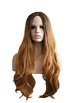 cheap -Synthetic Wig Curly Pixie Cut Wig Long Black / Gold Synthetic Hair 28 inch Women's Fashionable Design Classic Color Gradient Blonde