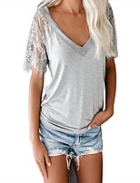 cheap -Women's T-shirt Solid Colored Mesh V Neck Tops Loose Basic Basic Top White Black Gray