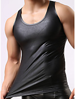 cheap -Men's Asian Size Sexy Round Neck Undershirt Solid Colored