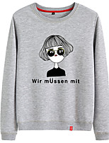 cheap -Women's Sweatshirt Cartoon Crew Neck Cotton Person Cartoon Letter Printed Sport Athleisure Pullover Long Sleeve Warm Soft Comfortable Everyday Use Exercising General Use