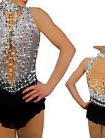 cheap -Figure Skating Dress Women's Girls' Ice Skating Dress Grey Spandex High Elasticity Training Competition Skating Wear Handmade Crystal / Rhinestone Sleeveless Ice Skating Winter Sports Figure Skating
