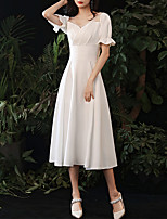 cheap -A-Line Minimalist Vintage Homecoming Cocktail Party Dress Sweetheart Neckline Short Sleeve Tea Length Spandex with Sleek Ruffles 2020