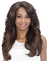 cheap -Synthetic Wig Curly Body Wave Asymmetrical Wig Long Dark Brown Synthetic Hair Women's Party Classic Comfortable Dark Brown