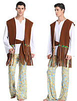 cheap -Hippie Disco Retro Vintage Hippie 1970s Disco Summer Outfits Masquerade Men's Costume Brown Vintage Cosplay Party Halloween Masquerade Sleeveless / Vest / Top / Pants