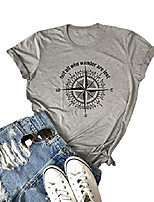 cheap -women compass vintage graphic tee not all who wander are lost print shirt baseball casual tops & # 40; e-gray, 2xl& #41;