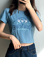cheap -Women's Going out Crop Tshirt Letter Round Neck Tops Slim Basic Basic Top Blue