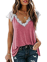 cheap -womens summer v neck lace trim short sleeve tops casual loose fit blouses t shirts pink m