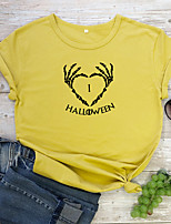 cheap -Women's Halloween T-shirt Heart Skull Letter Print Round Neck Tops 100% Cotton Basic Halloween Basic Top White Yellow Wine
