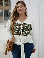 cheap -Women's Stylish Knitted Camouflage Cardigan Long Sleeve Plus Size Loose Sweater Cardigans V Neck Fall Winter White Black Yellow
