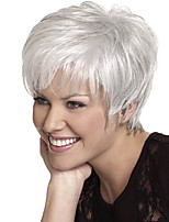 cheap -Synthetic Wig Straight Pixie Cut Wig Short Silver Synthetic Hair 12 inch Women's Heat Resistant Silver hairjoy