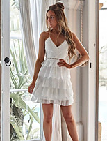 cheap -Women's Strap Dress Short Mini Dress - Sleeveless Solid Color Lace Patchwork Summer V Neck Sexy 2020 White S M L XL