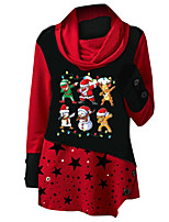 cheap -Women's Christmas Tunic Polka Dot Cartoon Star Long Sleeve Print Round Neck Tops Loose Basic Christmas Basic Top Blue Red Green