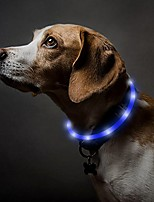 cheap -usb rechargeable led dog collar glow in the dark pet collar, silicone light up collars for night dog walking (blue)