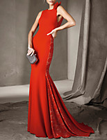 cheap -Mermaid / Trumpet Beautiful Back Floral Wedding Guest Formal Evening Dress Jewel Neck Sleeveless Court Train Lace Stretch Satin with Pleats Appliques 2020