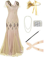 cheap -The Great Gatsby Vintage 1920s Flapper Dress Outfits Masquerade Women's Tassel Fringe Costume Golden yellow / Golden / Yellow Vintage Cosplay Party Prom / Body Jewelry / Body Jewelry