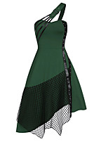 cheap -Women's Sheath Dress Knee Length Dress - Sleeveless Solid Color Backless Patchwork Fall One Shoulder Vintage Party Going out 2020 Black Purple Wine Green S M L XL XXL 3XL