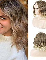 cheap -trend bob short wavy wigs mixed brown blonde hair wig with middle part curly wigs for women heat resistant synthetic wigs