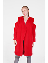 cheap -Women's Fall & Winter Hidden V Neck Coat Long Solid Colored Daily Basic Oversized Faux Fur White Red Light gray One-Size / Loose