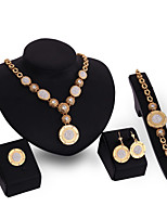cheap -Women's Clear Synthetic Diamond Bridal Jewelry Sets Simple Basic Elegant Earrings Jewelry Gold For Wedding Engagement 1 set