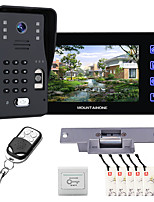cheap -MOUNTAINONE SY816MJLENO11 With 7 Inch Fingerprint RFID Password Video Door Phone Intercom Doorbell System kit With NO Electric Strike Lock+ Wireless Remote Control Unlock