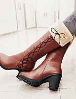 cheap -Women's Boots Block Heel Round Toe Casual Daily Solid Colored PU Mid-Calf Boots Almond / Black / Brown