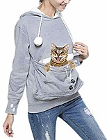 cheap -women's pet holder carrier hoodie big pouch sweatshirt casual pullover gray l