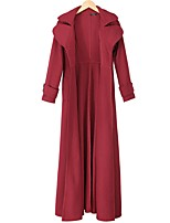 cheap -Women's Coat Long Solid Colored Daily Basic Black Wine Green S M L