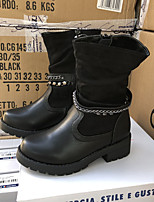 cheap -Girls' Boots Combat Boots PU Little Kids(4-7ys) Big Kids(7years +) Walking Shoes Black Fall Winter / Mid-Calf Boots / Rubber