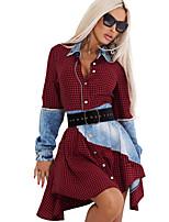 cheap -Women's Shirt Dress Short Mini Dress - Long Sleeve Color Block Patchwork Fall Shirt Collar Sexy 2020 Wine S M L XL XXL