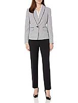cheap -women's shawl collar mini houndstooth slim pant suit, ivory/black, 6