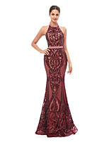 cheap -Mermaid / Trumpet Beautiful Back Sexy Prom Formal Evening Dress Halter Neck Sleeveless Floor Length Sequined with Sequin 2020