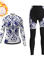 cheap -21Grams Women's Long Sleeve Cycling Jacket with Pants Winter Fleece White Floral Botanical Bike Fleece Lining Breathable Warm Sports Floral Botanical Mountain Bike MTB Road Bike Cycling Clothing