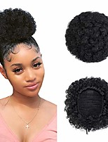 cheap -afro puff drawstring ponytail short kinky curly hair bun extension donut chignon hairpieces updo hair puff clip on hair extensions for women girls (medium, 2#)