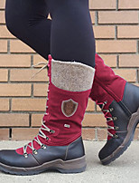 cheap -Women's Boots Flat Heel Round Toe Casual Basic Daily Color Block PU Over The Knee Boots Walking Shoes Black / Red / Black / Purple