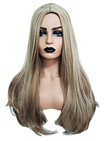 cheap -Synthetic Wig Straight Natural Straight Neat Bang Wig Long Light golden Synthetic Hair 28 inch Women's Fashionable Design Party Exquisite Blonde