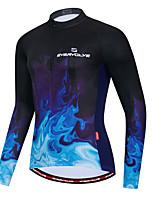 cheap -Men's Long Sleeve Cycling Jersey Dark Navy Bike Quick Dry Sports Geometic Clothing Apparel / Micro-elastic