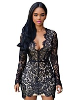 cheap -Women's Sheath Dress Short Mini Dress - Long Sleeve Solid Color Backless Summer V Neck Sexy Club Slim 2020 Black S M L
