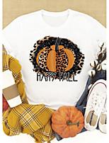 cheap -Women's Halloween T-shirt Leopard Graphic Prints Cheetah Print Print Round Neck Tops 100% Cotton Basic Halloween Basic Top White Yellow Blushing Pink