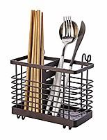 cheap -metal flatware caddy utensil holder silverware caddy cutlery storage organizer 2 slots with hook hanger (deep brown)