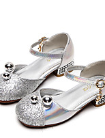 cheap -Girls' Heels Moccasin / Flower Girl Shoes / Children's Day Rubber / PU Little Kids(4-7ys) / Big Kids(7years +) Walking Shoes Rhinestone / Buckle / Sequin Pink / Silver Spring / Fall / Party & Evening