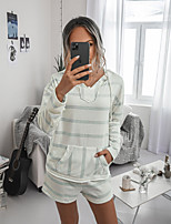 cheap -Women's Basic Striped Two Piece Set Hooded Sweatshirt Pant Patchwork Print Tops / Loose