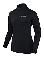 cheap -Men's Long Sleeve Cycling Jersey Polyester Black Solid Color Bike Jersey Top Mountain Bike MTB Road Bike Cycling Thermal / Warm Breathable Quick Dry Sports Clothing Apparel / Anatomic Design
