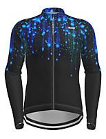 cheap -21Grams Men's Long Sleeve Cycling Jersey Black Galaxy Bike Jersey Top Mountain Bike MTB Road Bike Cycling Quick Dry Sports Clothing Apparel / Micro-elastic
