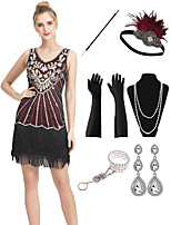 cheap -The Great Gatsby Vintage 1920s Flapper Dress Outfits Masquerade Women's Tassel Fringe Costume Black / Red Vintage Cosplay Party Prom / Gloves / Headwear / Necklace / Bracelets & Bangles / Earrings