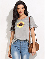 cheap -Women's T-shirt Floral Flower Print Round Neck Tops Basic Basic Top Gray